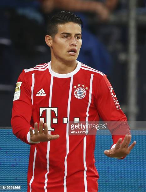 James Rodriguez of Muenchen reacts during the Bundesliga match between FC Schalke 04 and FC Bayern Muenchen at VeltinsArena on September 19 2017 in...