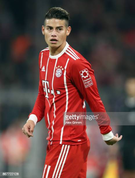 James Rodriguez of Muenchen reacts during the Bundesliga match between FC Bayern Muenchen and RB Leipzig at Allianz Arena on October 28 2017 in...