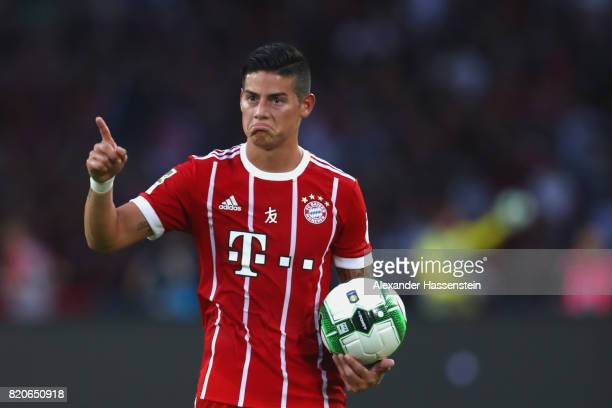 James Rodriguez of Muenchen reacts during the International Champions Cup Shenzen 2017 match between Bayern Muenchen and AC Milan at on July 22 2017...