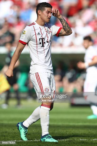 James Rodriguez of Munich appears frustrated during the Bundesliga match between Hannover 96 and FC Bayern Muenchen at HDIArena on April 21 2018 in...