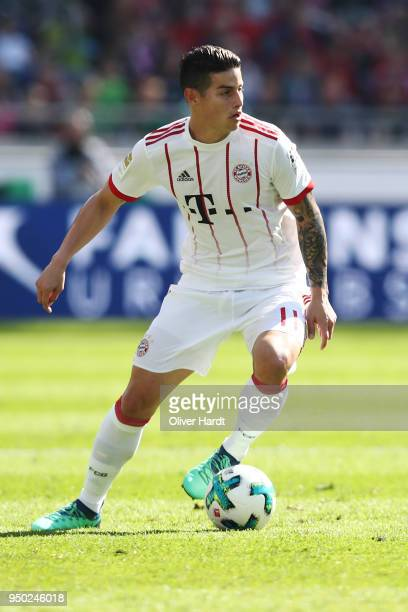 James Rodriguez of Munich in action during the Bundesliga match between Hannover 96 and FC Bayern Muenchen at HDIArena on April 21 2018 in Hanover...
