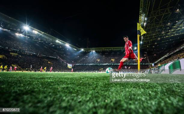 James Rodriguez of Munich kicks a corner during the Bundesliga match between Borussia Dortmund and FC Bayern Muenchen at Signal Iduna Park on...