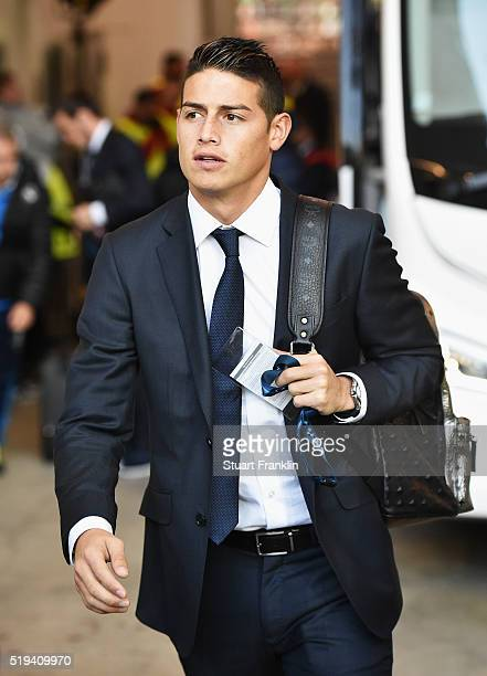 James Rodriguez of Real Madrid arrives for the UEFA Champions League Quarter Final First Leg match between VfL Wolfsburg and Real Madrid at...