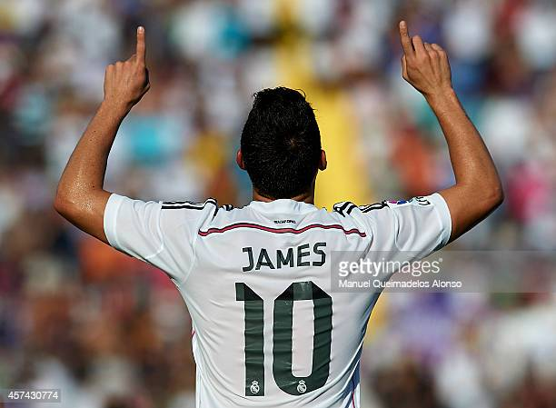 James Rodriguez of Real Madrid celebrates after scoring during the La Liga match between Levante UD and Real Madrid at Ciutat de Valencia on October...