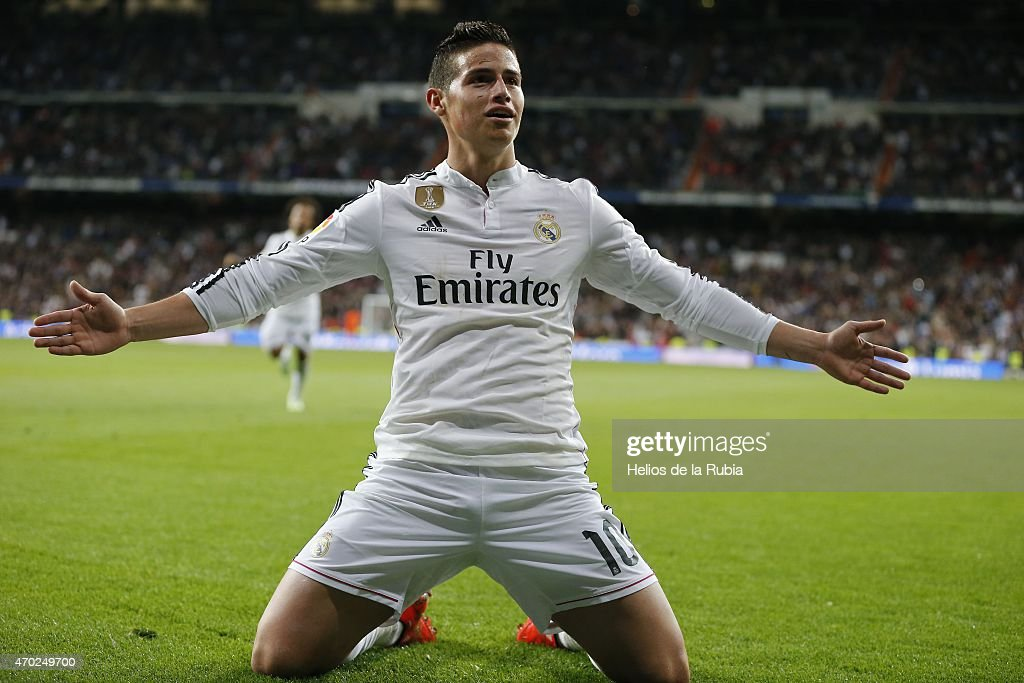 James Rodriguez of Real Madrid celebrates after scoring during the La Liga match between Real Madrid CF and Malaga at Estadio Santiago Bernabeu on April 18, 2015 in Madrid, Spain.