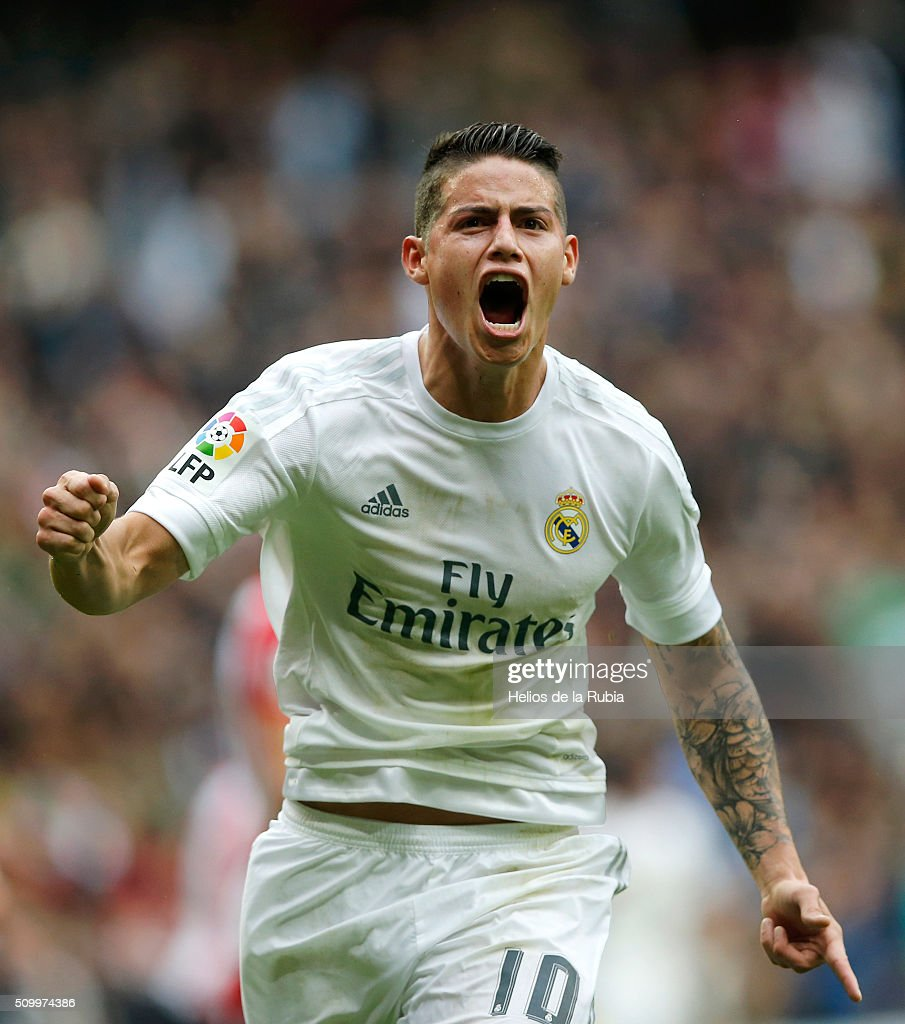 James Rodriguez of Real Madrid celebrates after scoring during the La Liga match between Real Madrid CF and Athletic Club at Estadio Santiago Bernabeu on February 13, 2016 in Madrid, Spain.