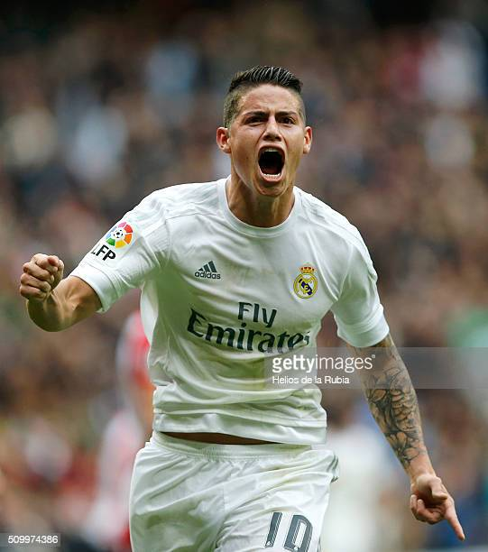 James Rodriguez of Real Madrid celebrates after scoring during the La Liga match between Real Madrid CF and Athletic Club at Estadio Santiago...