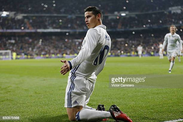 James Rodriguez of Real Madrid celebrates after scoring his team's third goal during the Copa del Rey round of 16 first leg match between Real Madrid...