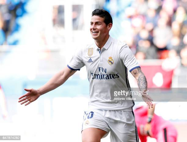 James Rodriguez of Real Madrid celebrates after scoring his team«s third goal during the La Liga match between SD Eibar and Real Madrid CF at Estadio...