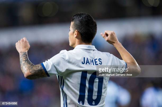 James Rodriguez of Real Madrid celebrates after scoring his team's second goal during the La Liga match between RC Deportivo La Coruna and Real...