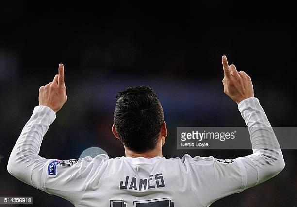 James Rodriguez of Real Madrid celebrates after scoring Real's 2nd goal during the UEFA Champions League Round of 16 Second Leg match between Real...