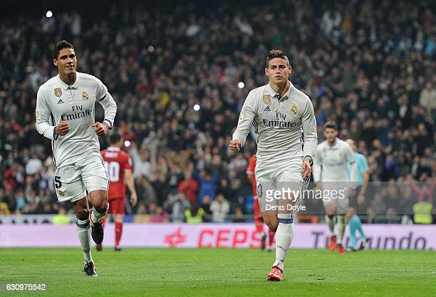 James Rodriguez of Real Madrid celebrates after scoring Real's 3rd goal during the Copa del Rey Round of 16 First Leg match between Real Madrid and...