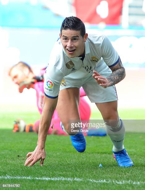 James Rodriguez of Real Madrid celebrates after scoring Real's 3rd goal during the La Liga match between SD Eibar and Real Madrid CF at Estadio...