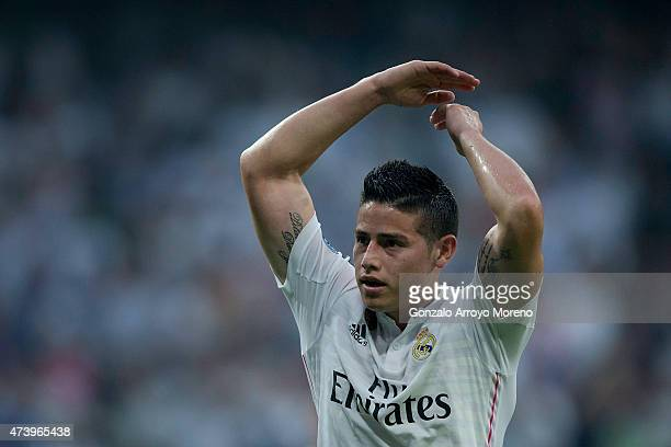 James Rodriguez of Real Madrid CF asks the audience for support during the UEFA Champions League semifinal second leg match between Real Madrid CF...