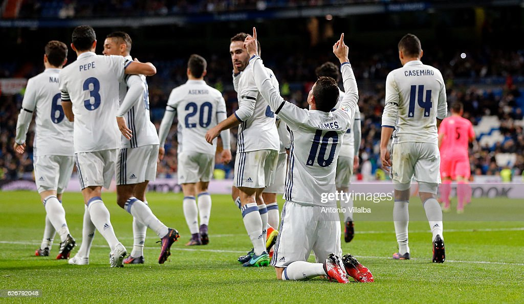 James Rodriguez of Real Madrid CF celebrates after scoring Real's 2nd goal during the Copa del Rey last of 32 match between Real Madrid and Cultural Leonesa at estadio Santiago Bernabeu on November 30, 2016 in Madrid, Spain.