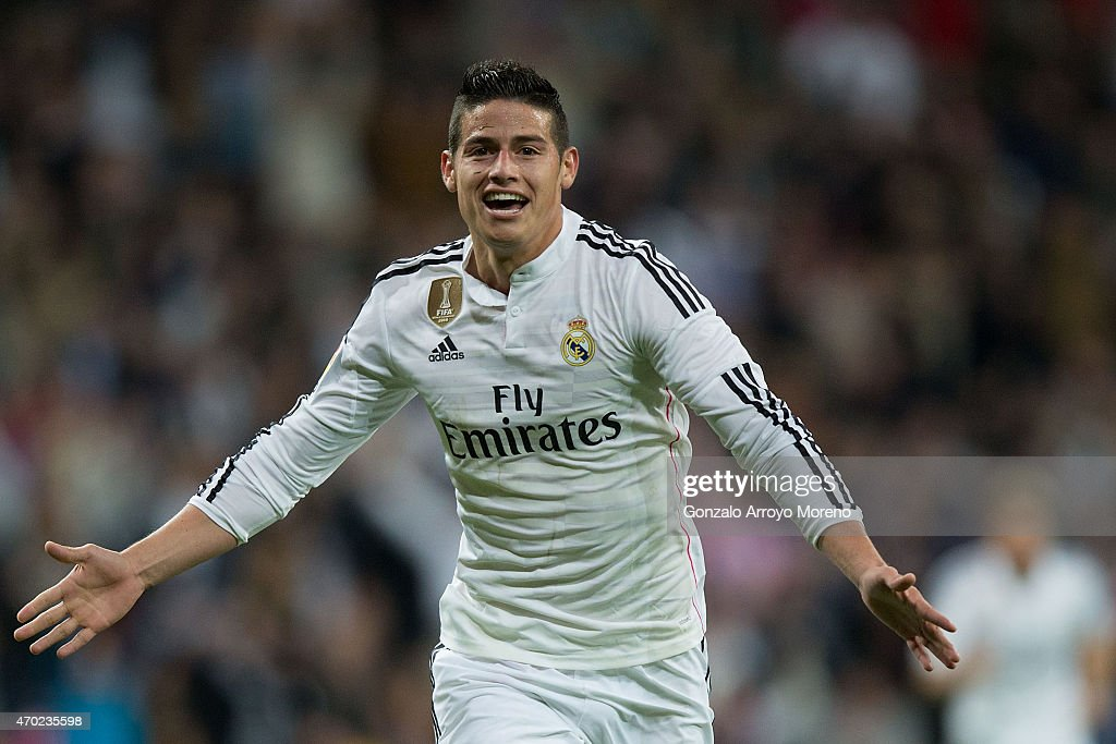 James Rodriguez of Real Madrid CF celebrates scoring their second goal during the La Liga match between Real Madrid CF and Malaga CF at Estadio Santiago Bernabeu on April 18, 2015 in Madrid, Spain.