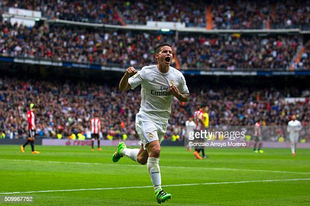 James Rodriguez of Real Madrid CF celebrates scoring their second goal during the La Liga match between Real Madrid CF and Athletic Club at Estadio...