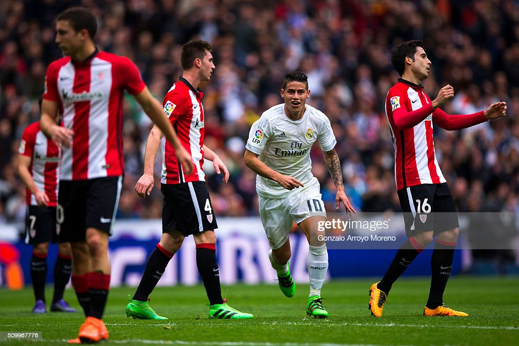 James Rodriguez of Real Madrid CF celebrates scoring their second goal during the La Liga match between Real Madrid CF and Athletic Club at Estadio Santiago Bernabeu on February 13, 2016 in Madrid, Spain.