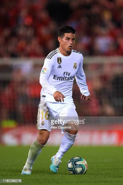 James Rodriguez of Real Madrid CF conducts the ball during the La Liga match between RCD Mallorca and Real Madrid CF at Iberostar Estadi on October...
