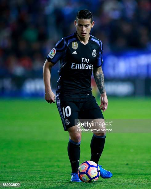 James Rodriguez of Real Madrid CF controls the ball during the La Liga match between CD Leganes and Real Madrid CF at Estadio Municipal de Butarque...