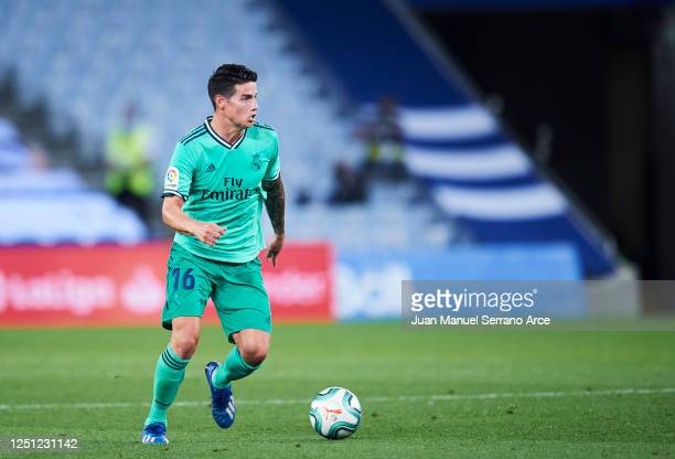 James Rodriguez of Real Madrid CF in action during the Liga match between Real Sociedad and Real Madrid CF at Estadio Anoeta on June 21 2020 in San...