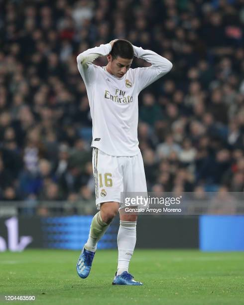 James Rodriguez of Real Madrid CF reacts as he fail to score during the Copa del Rey quarter final match between Real Madrid and Real Sociedad de...