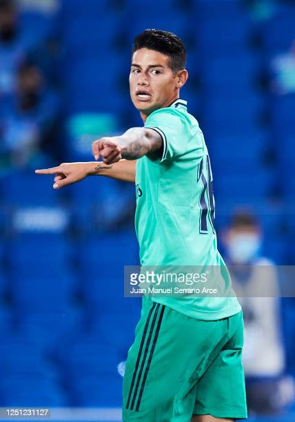 James Rodriguez of Real Madrid CF reacts during the Liga match between Real Sociedad and Real Madrid CF at Estadio Anoeta on June 21 2020 in San...