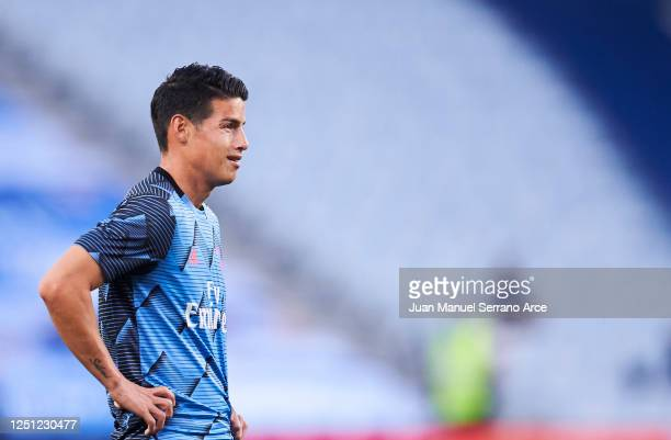 James Rodriguez of Real Madrid CF warms up during the La Liga match between Real Sociedad and Real Madrid CF at Estadio Anoeta on June 21 2020 in San...