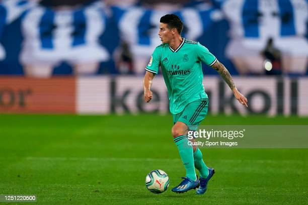 James Rodriguez of Real Madrid CF with the ball during the Liga match between Real Sociedad and Real Madrid CF at Estadio Anoeta on June 21 2020 in...