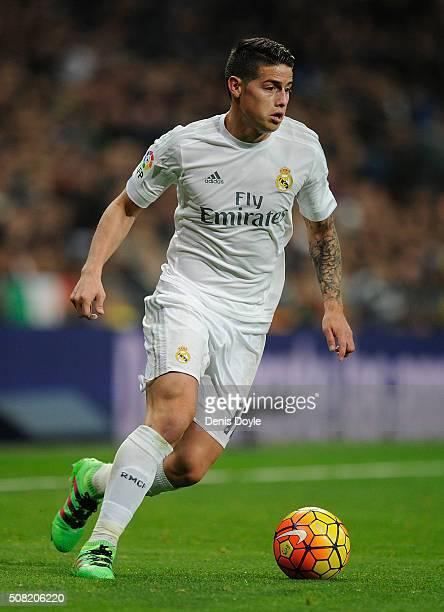 James Rodriguez of Real Madrid controls the ball during the La Liga match between Real Madrid CF and Real CD Espanyol at Estadio Santiago Bernabeu on...