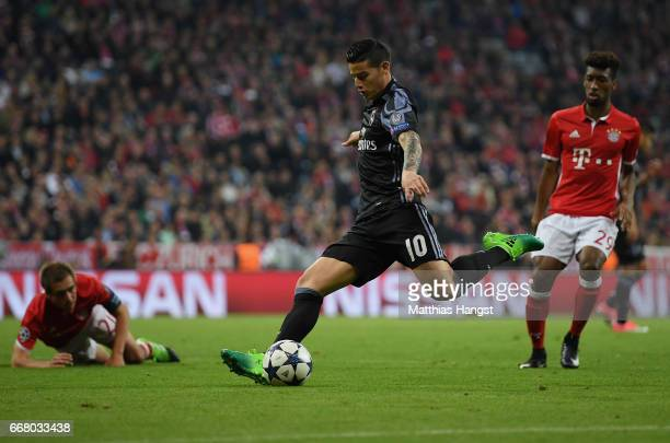 James Rodriguez of Real Madrid controls the ball during the UEFA Champions League Quarter Final first leg match between FC Bayern Muenchen and Real...