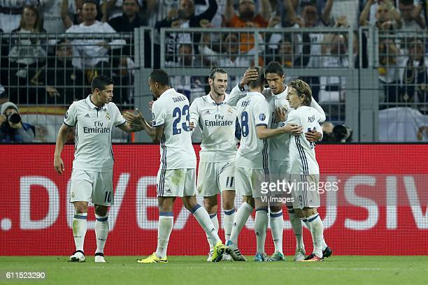 James Rodriguez of Real Madrid Danilo of Real Madrid Gareth Bale of Real Madrid Toni Kroos of Real Madrid Raphael Varane of Real Madrid Luka Modric...