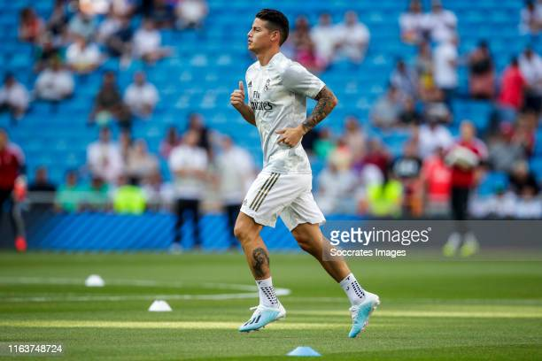 James Rodriguez of Real Madrid during the La Liga Santander match between Real Madrid v Real Valladolid at the Santiago Bernabeu on August 24 2019 in...