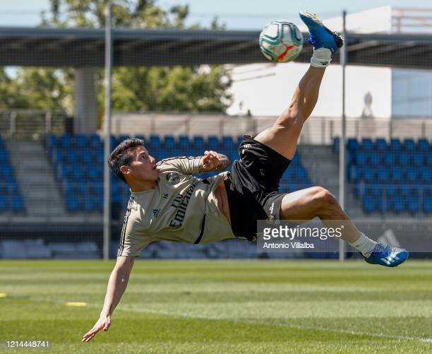 James Rodriguez of Real Madrid during the team's training session during the Covid19 pandemic at Valdebebas training ground on May 21 2020 in Madrid...