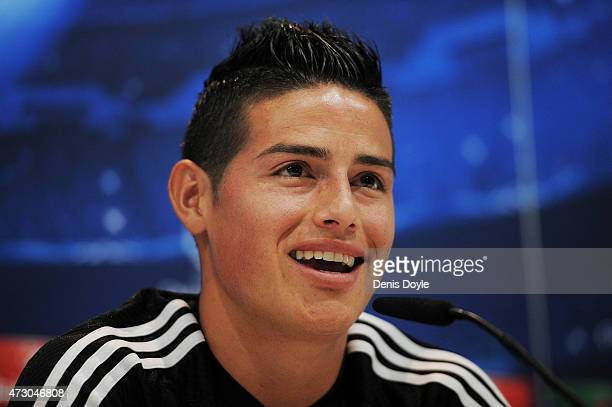 James Rodriguez of Real Madrid holds a press conference after the team training session ahead of the UEFA Champions League Semi Final Second Leg...