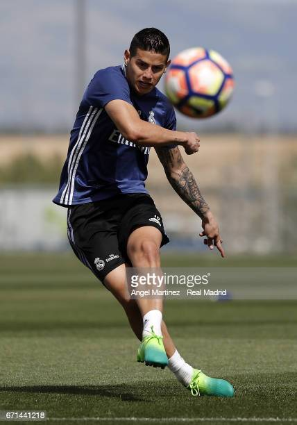 James Rodriguez of Real Madrid in action during a training session at Valdebebas training ground on April 22, 2017 in Madrid, Spain.