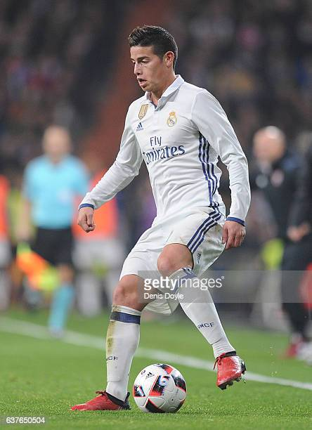 James Rodriguez of Real Madrid in action during the Copa del Rey Round of 16 First Leg match between Real Madrid and Sevilla at Bernabeu on January 4...