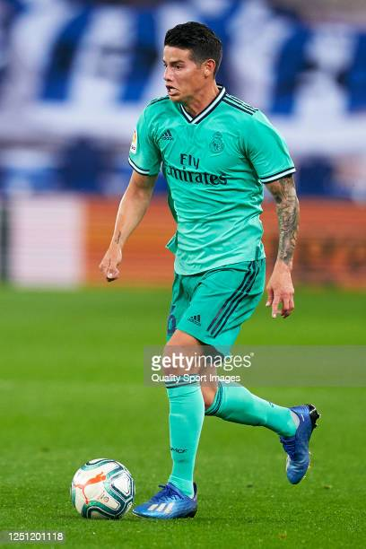James Rodriguez of Real Madrid in action during the La Liga match between Real Sociedad and Real Madrid CF at Estadio Anoeta on June 21 2020 in San...