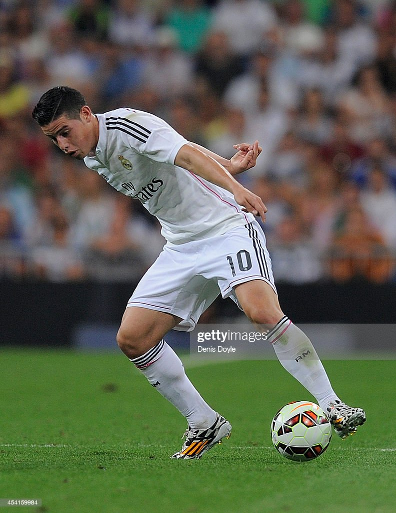 James Rodriguez of Real Madrid in action during the La liga match between Real Madrid CF and Cordoba CF at Estadio Santiago Bernabeu on August 25, 2014 in Madrid, Spain.