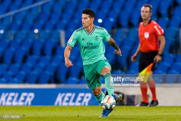James Rodriguez of Real Madrid in action during the Liga match between Real Sociedad and Real Madrid CF at Estadio Anoeta on June 21 2020 in San...