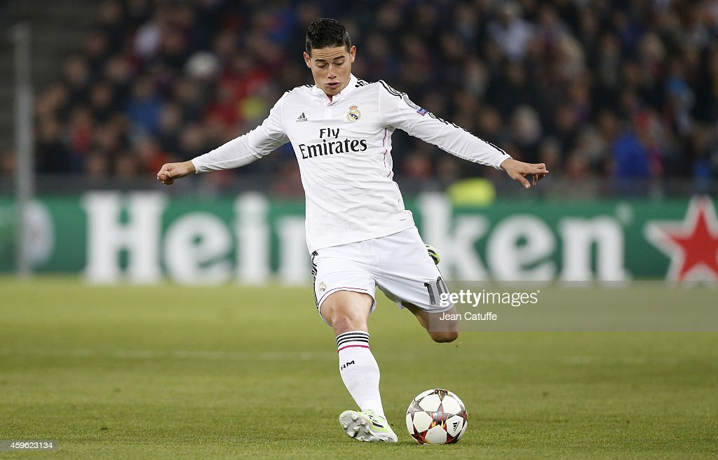 James Rodriguez of Real Madrid in action during the UEFA Champions League Group B match between FC Basel 1893 and Real Madrid CF at St. Jakob-Park stadium on November 26, 2014 in Basel, Basel-Stadt, Switzerland.