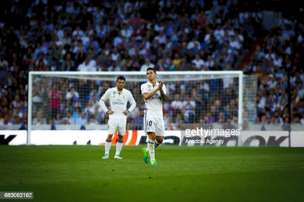James Rodriguez of Real Madrid is seen during the La Liga match between Real Madrid and Sevilla at Santiago Bernabeu Stadium in Madrid Spain on May...