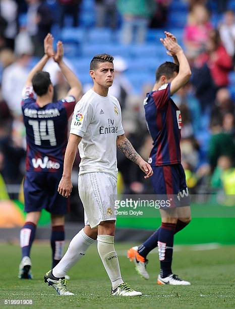James Rodriguez of Real Madrid leaves the pitch at the end of the La Liga match between Real Madrid and Eibar at Estadio Santiago Bernabeu on April 9...