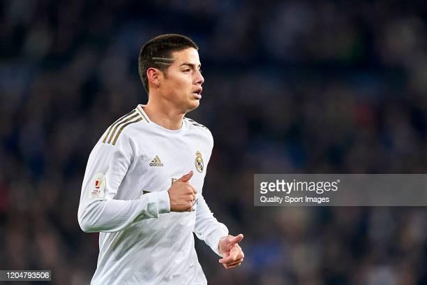 James Rodriguez of Real Madrid looks on during the Copa del Rey Quarter Final match between Real Madrid CF and Real Sociedad at Estadio Santiago...
