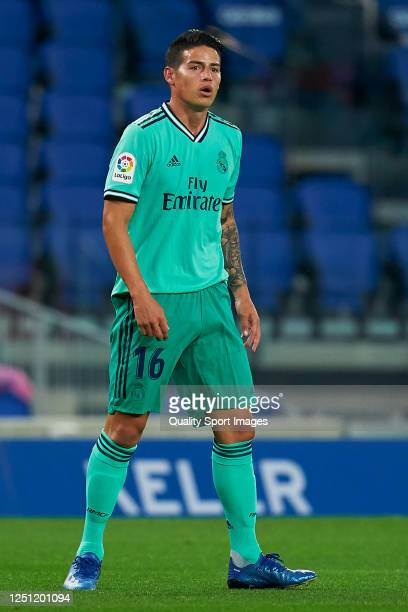 James Rodriguez of Real Madrid looks on during the La Liga match between Real Sociedad and Real Madrid CF at Estadio Anoeta on June 21 2020 in San...