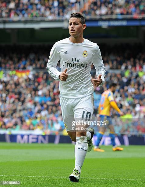 James Rodriguez of Real Madrid looks on during the La Liga match between Real Madrid CF and Valencia CF at Estadio Santiago Bernabeu on May 8 2016 in...