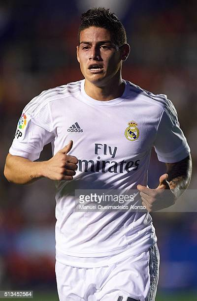 James Rodriguez of Real Madrid looks on during the La Liga match between Levante UD and Real Madrid at Ciutat de Valencia on March 02 2016 in...