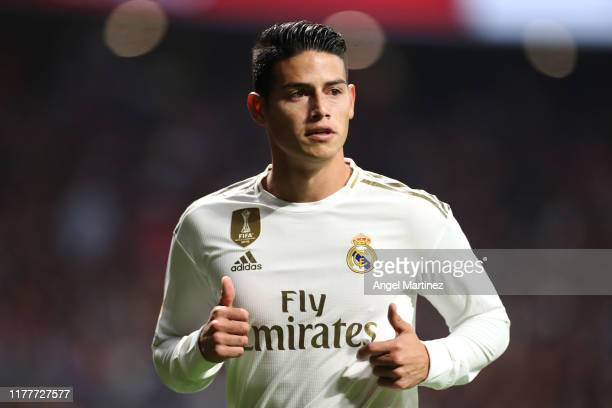 James Rodriguez of Real Madrid looks on during the Liga match between Club Atletico de Madrid and Real Madrid CF at Wanda Metropolitano on September...