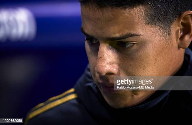 James Rodriguez of Real Madrid looks on prior the Liga match between Levante UD and Real Madrid CF at Ciutat de Valencia on February 22 2020 in...
