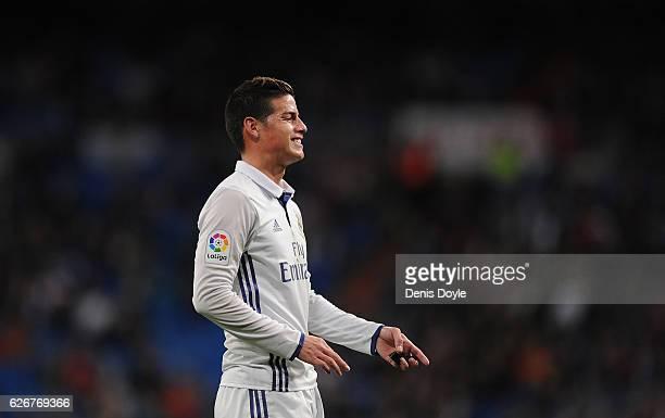 James Rodriguez of Real Madrid reacts during the Copa del Rey last of 32 match between Real Madrid and Cultural Leonesa at estadio Santiago Bernabeu...